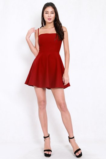 *Premium* Classic Skater Spag Dress (Maroon)