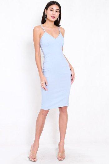 V Neck Midi Spag Dress (Baby Blue)