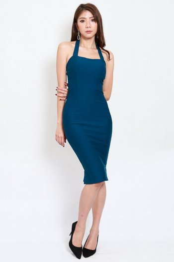 *Premium* Halter Midi Dress (Teal)
