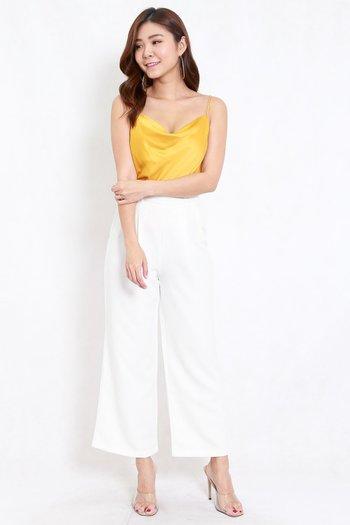 Satin Cowl Neck Top (Yellow)