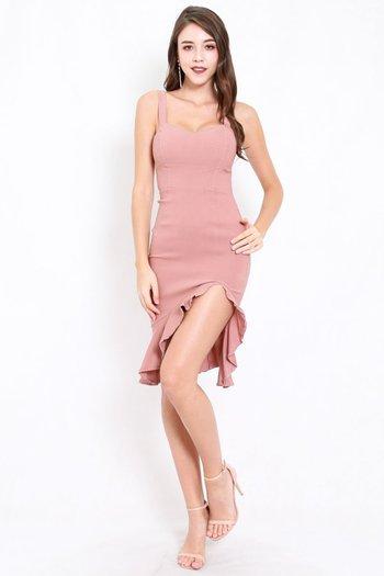 Sweetheart Ruffle Slit Dress (Tan-Nude)