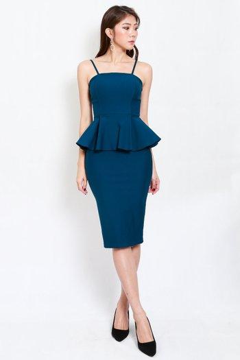*Premium* Peplum Midi Spag Dress (Teal)