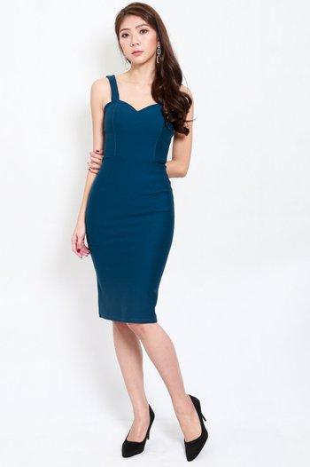 *Premium* Classic Sweetheart Midi Dress (Teal)