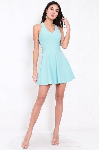 *Premium* Cross Back Skater Dress (Tiffany Blue)