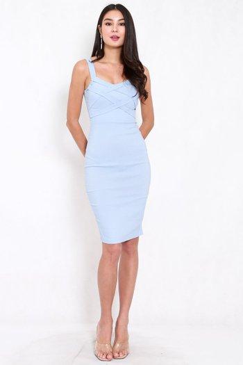 Braided Midi Dress (Baby Blue)