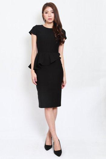 *Premium* Peplum Sleeved Midi Dress (Black)