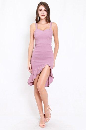 Sweetheart Ruffle Slit Dress (Lavender)