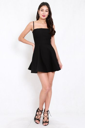 *Premium* Classic Skater Spag Dress (Black)
