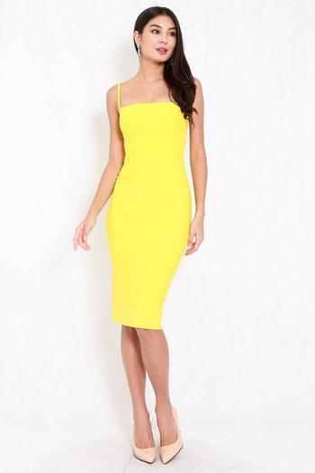 *Premium* Classic Midi Spag Dress (Yellow)