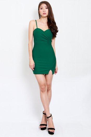*Premium* Sweetheart Overlap Slit Dress (Green)