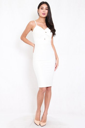 *Premium* Twist Knot Midi Dress (White)