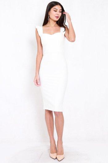 *Premium* Ruffle Sleeve Midi Dress (White)