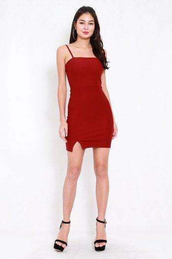 *Premium* Classic Slit Mini Dress (Maroon)