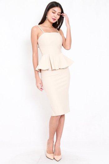 *Premium* Peplum Midi Spag Dress (Ivory)