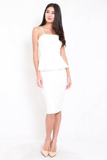*Premium* Peplum Midi Spag Dress (White)