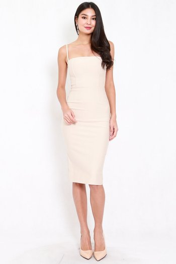 *Premium* Classic Midi Spag Dress (Ivory)