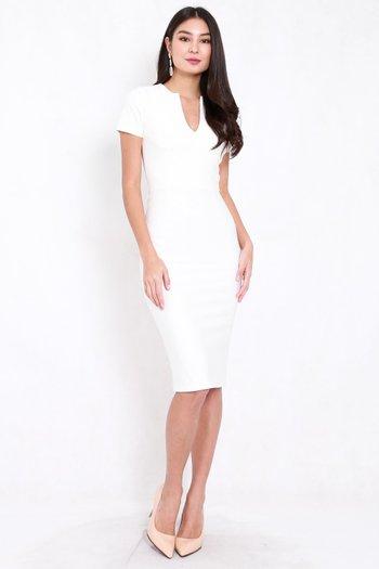 *Premium* V Cut Midi Dress (White)