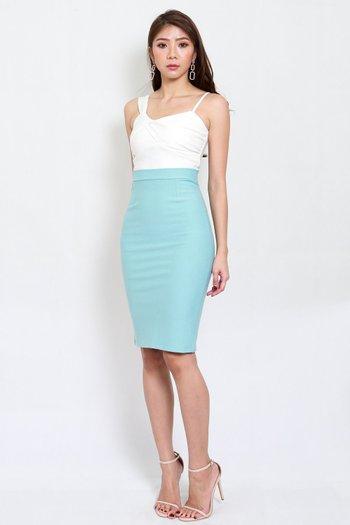 *Premium* Pencil Midi Skirt (Tiffany Blue)