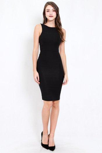 Low Back Midi Dress (Black)