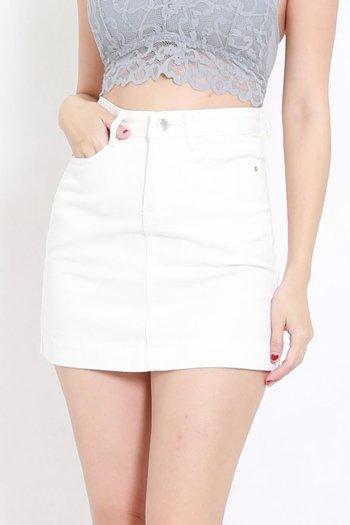 Basic Denim Skirt (White)