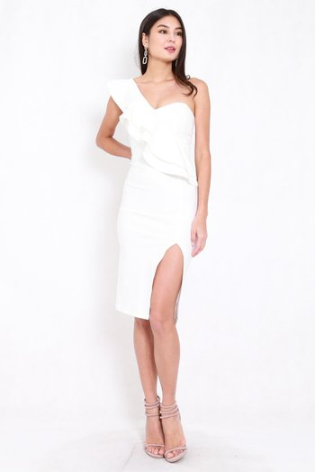 *Premium* Ruffle Toga Slit Midi Dress (White)
