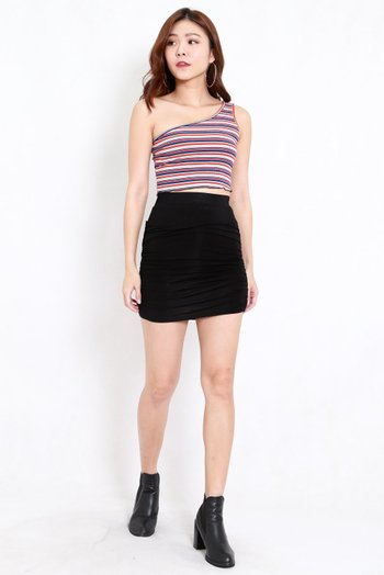 Ruffle Hem Toga Top (Stripes)