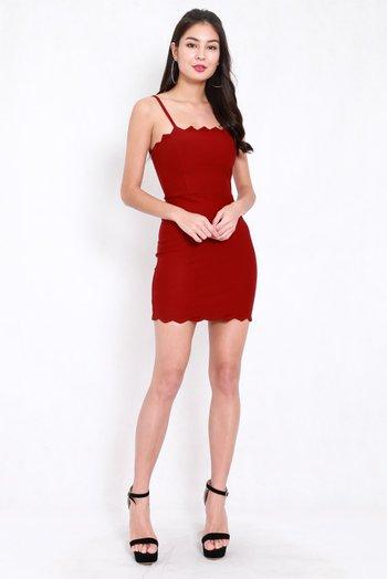 *Premium* Scallop Spag Dress (Maroon)