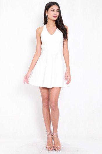 *Premium* Cross Back Skater Dress (White)