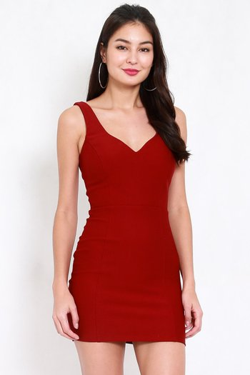 *Premium* Previa Sweetheart Bodycon Dress (Maroon)