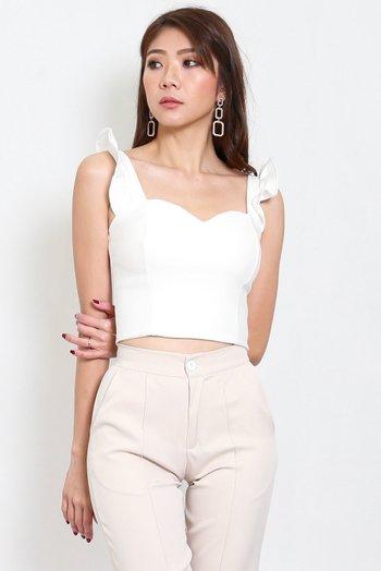 *Premium* Ruffle Sleeve Top (White)