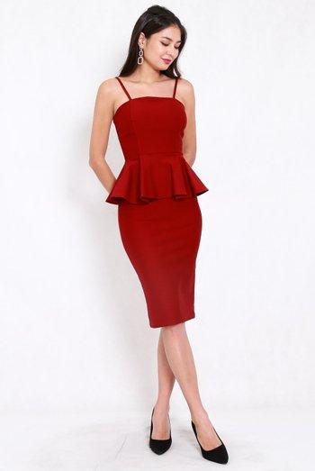 *Premium* Peplum Midi Spag Dress (Maroon)