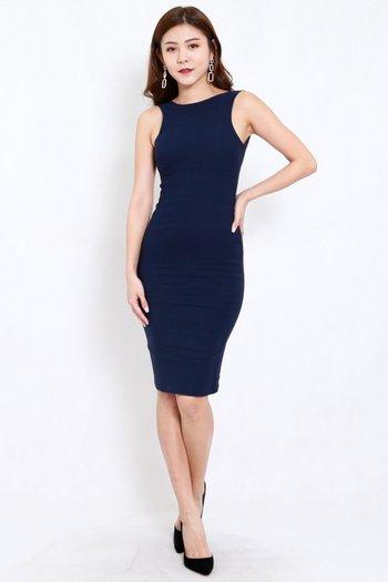 Low Back Midi Dress (Navy)