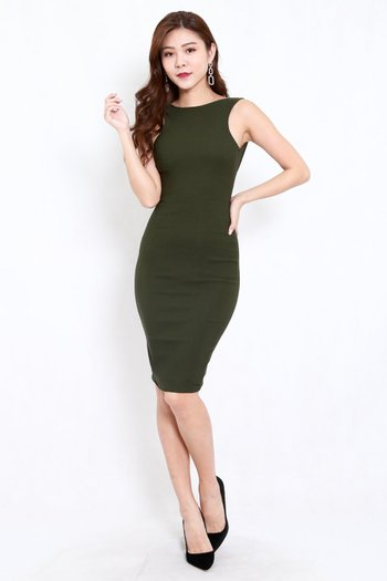 Low Back Midi Dress (Olive)
