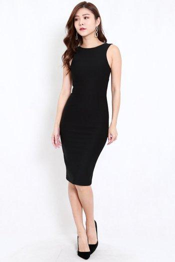*Premium* Low Back Midi Dress (Black)
