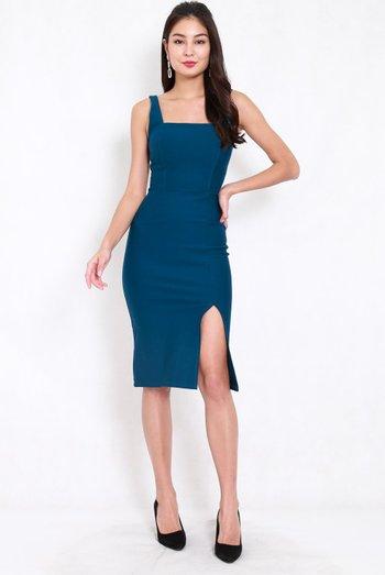 *Premium* Square Neck Slit Midi Dress (Teal)
