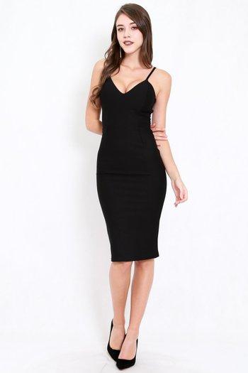 *Premium* V Neck Midi Spag Dress (Black)