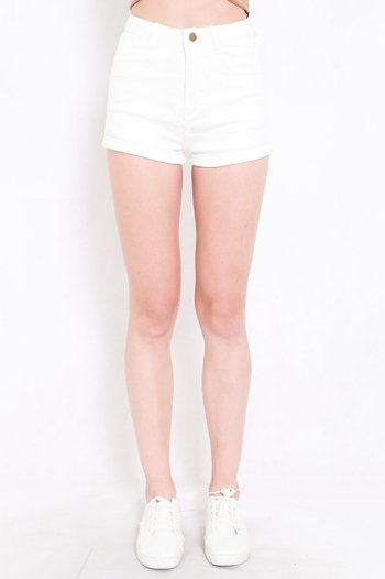 Fitted Denim Shorts (White)