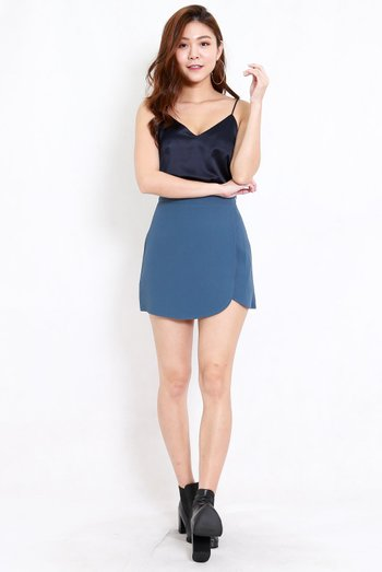 Curve Hem Overlap Skirt (Blue)