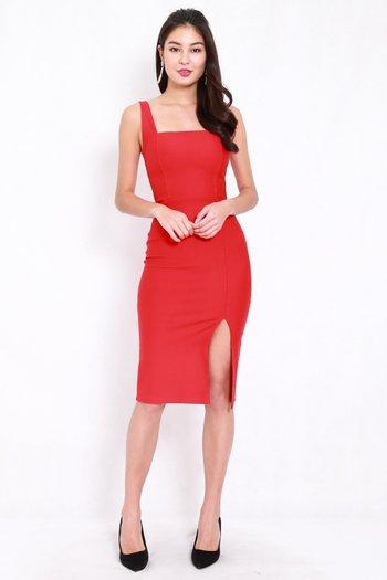 *Premium* Square Neck Slit Midi Dress (Bright Red)