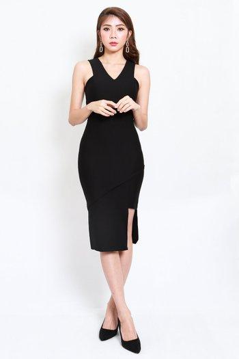 *Premium* Asymmetrical V Midi Dress (Black)
