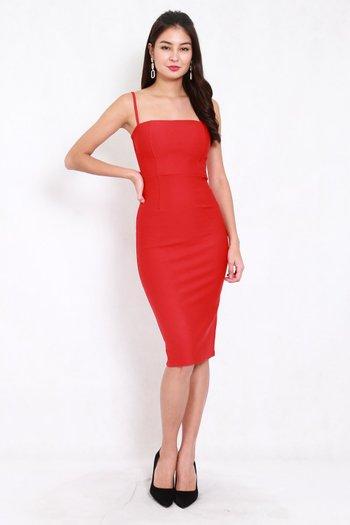*Premium* Classic Midi Spag Dress (Bright Red)