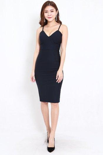 *Premium* V Neck Midi Spag Dress (Navy)