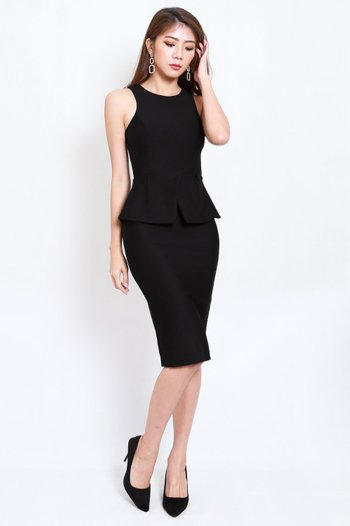 *Premium* Kate Peplum Midi Dress (Black)