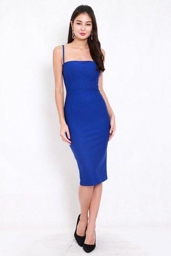 *Premium* Classic Midi Spag Dress (Cobalt Blue)