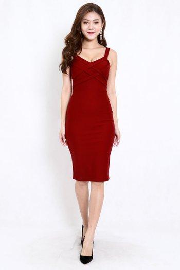 *Premium* Braided Midi Dress (Maroon)