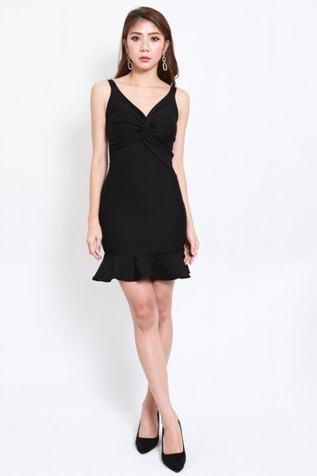 *Premium* Twist Knot Mermaid Dress (Black)