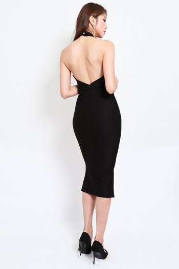 *Premium* Low Back Halter Dress (Black)
