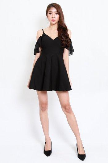 *Premium* Chiffon Sleeve Skater Dress (Black)