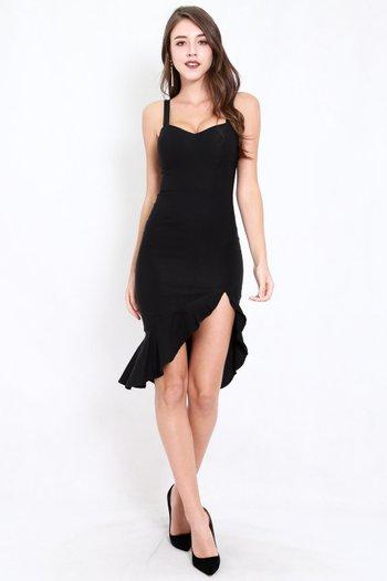 Sweetheart Ruffle Slit Dress (Black)