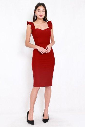 *Premium* Ruffle Sleeve Midi Dress (Maroon)